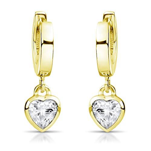 MATERIA Kinder Ohrringe Gold Herzen - kleine Creolen Silber 925 vergoldet mit Zirkonia für Mädchen in Etui SO-389-Gold