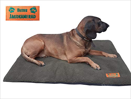 Hundebett Faserpelz mit Thermofüllung Hundedecke Grün Jagdhunde 70x100cm Bester Jagdkamerad