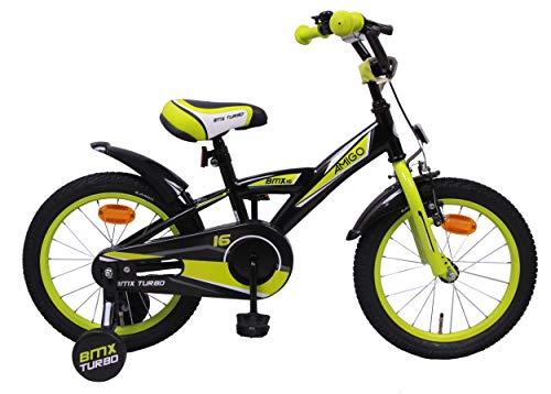 Amigo BMX Turbo - Kinderfahrrad für Jungen - 16 Zoll - mit Handbremse, Rücktritt, Lenkerpolster und Stützräder - ab 4-6 Jahre - Schwarz