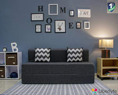 uberlyfe Sofa Cum Bed - 3 Seater, 5' X 6' Feet - with 2 Cushions (Zigzag Pattern) - Jute Fabric | Dark Grey - Perfect for Guests