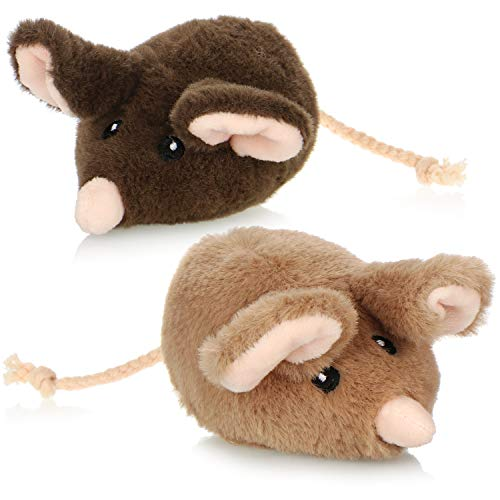 com-four® 2X Plüschmaus - Stofftier für jedes Alter - Kuscheltier-Mäuse für Kinder - Stoffmaus als Weggefährte für Kinder [Auswahl variiert]