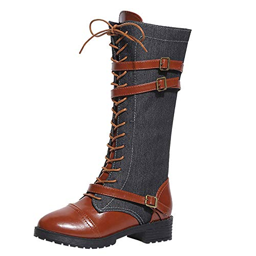 Seaintheson Women Lace Up Ankle Boots, Ladies Denim Roman Riding Knee High Cowboy Boots Long Boots Black