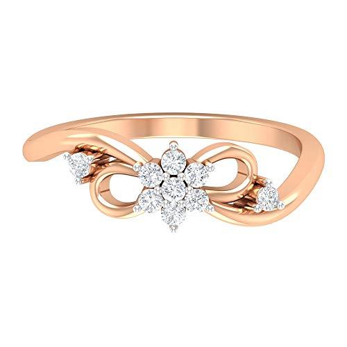 Rosec Jewels – Anillo de boda pajarita, anillo de flores con diamante HI-SI, oro de 14 quilates, Metal, Diamond,