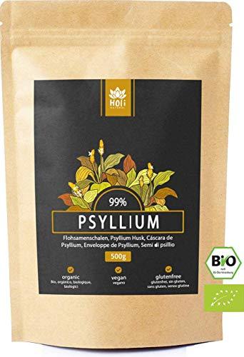 Holi Natural® 500g Cáscaras orgánicas de psyllium. Semilla de Plantago Ovata orgánica certificada. 100% Psyllium indio de alta calidad. Vegano. sin aditivos - Suministro de 1 a 3 meses ⭐