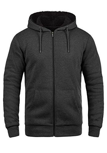 !Solid BertiZip Pile Herren Sweatjacke Kapuzen-Jacke Zip-Hoodie mit Teddyfutter aus hochwertigem Baumwollmaterial Meliert, Größe:L, Farbe:D Gre Pil (P8288)