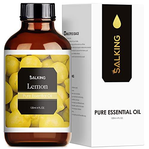 SALKING Aceite Esencial de Limón 120ml,100% Puro y Natural Aceites Esenciales para Humidificador, Aceites Esenciales Naturales Aceite Perfumado de Limón, Regalos Originales para Mujer