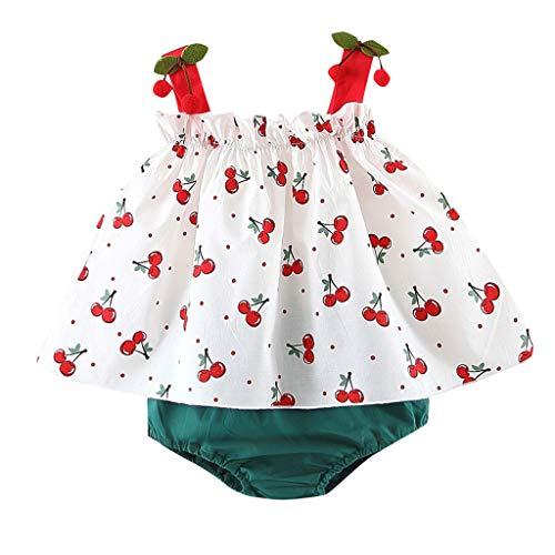 Ropa Bebe Niña Verano Fossen Recién Nacido Blusas sin Tirantes con Cereza + Tutu Pantalones Cortos - 0 a 24 Meses,Conjunto/2PC
