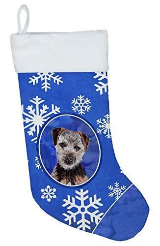 Caroline 's Treasures Norfolk Terrier Puppy Winter Schneeflocken Weihnachtsstrumpf, 27,9x 45,7cm Mulitcolor