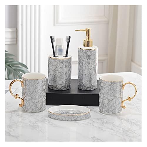 dispensador de jabón Accesorios de baño Conjunto Pareja europea Cerámica Accesorio de baño Conjuntos Dispensador de jabón Soporte de cepillo de dientes Vaso y jabonera, conjunto de 5 Dispensador de ja