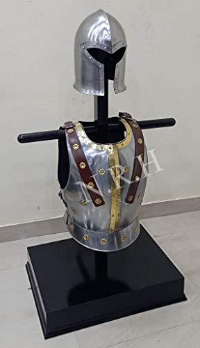 Nautisch Replik Hub, Mittelalter Barbuta Helm Mittelalter Rüstung Halloween Kostüm Brustplatte Muskeljacke Set
