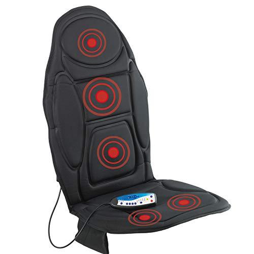 VITALmaxx Massagematte mit Wärmefunktion | Weiche, komfortable Sitz Auflage | 5 Vobrationsmotoren für 4 Verschiedene Massagearten | mit Timerfunktion [schwarz]