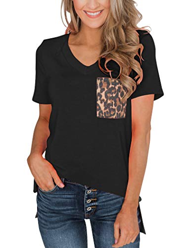 Minclouse Women's Summer Short Sleeves V Neck T Shirt Casual Basic Tops with Leopard Pocket Black
