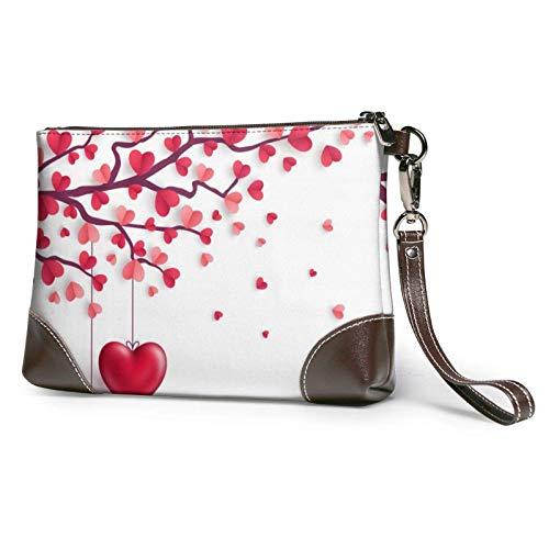 XCNGG Bolso de mano con estampado de árbol de hojas de corazones románticos, bolso de mano de cuero desmontable, bolso de mano para mujer