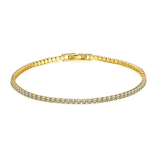 SHAYAY Rose Gold/Gold Plated Tennis Bracelet for Women with Round Brilliant Cubic Zirconia Hand Chain Charm Clip-on Bracelet (18ct Yellow Gold)