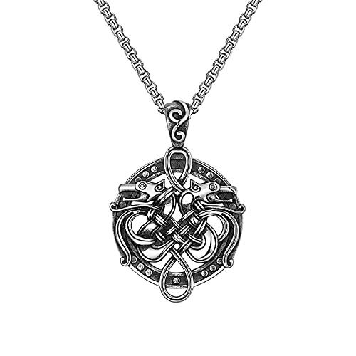 KINGVON - Collar con colgante de dragón doble celta vikingo - Collar de acero inoxidable con lobo con nudo celta para mujeres y hombres, regalo de joyería de talismán medieval vintage (Color: Plata)