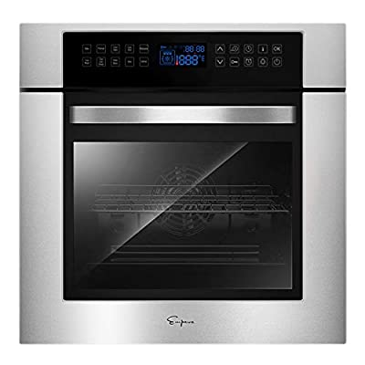 Empava 24 in. Electric Single Wall Oven Convection with 10 Cooking Functions Deluxe 360° ROTISSERIE Model 2020, Black