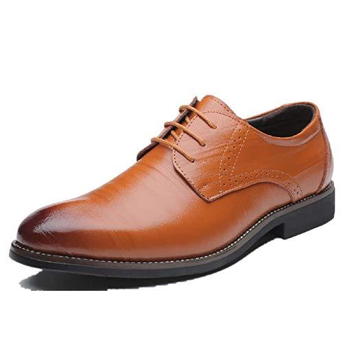 Business Anzugschuhe Herren, Lederschuhe Schnürhalbschuhe Oxford Smoking Lackleder Brogue Schuhe Hochzeit Derby Leder, 38 EU, Khaki