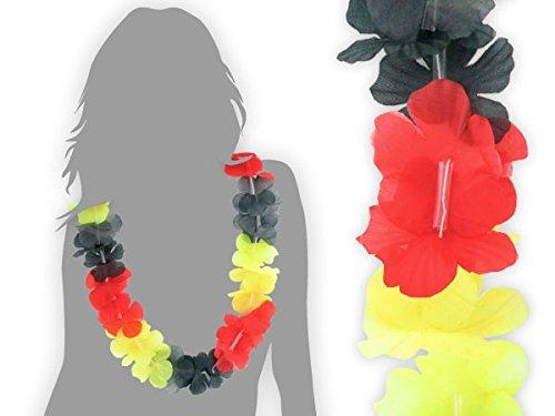 Collier Hawaïen noir rouge jaune \