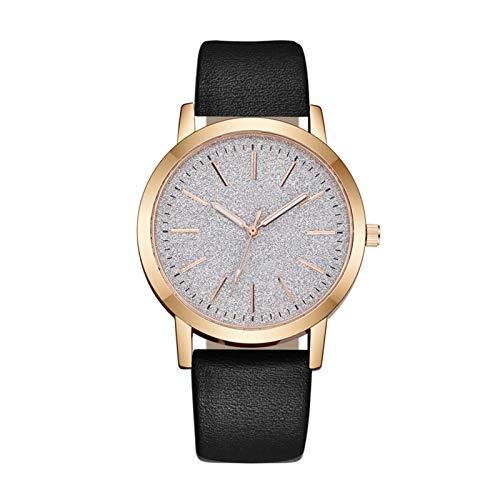 QHG Cuarzo de Cuero Ladies Watch Ladies Fashion All-Match Watch Ladies Reloj Reloj de Lujo Reloj de Lujo Casual Mujeres (Color : Black)