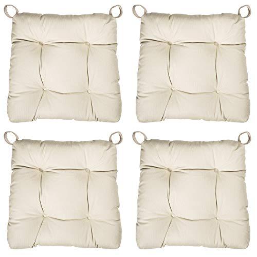 sleepling 4er Set Stuhlkissen/Sitzkissen Eva für Indoor und Outdoor, Maße: 40 (vorne) / 35 (hinten) x 38 x 8 cm, beige