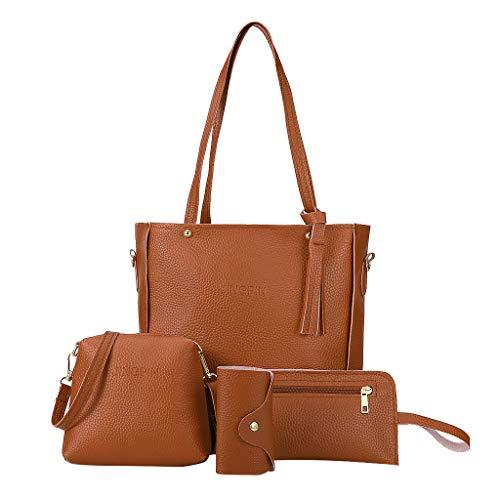 Banbry 4-teiliges Set Leder Handtasche Damen Shopper Schultertasche Umhängetasche Damen Geldbörse Tragetasche Groß Damen Tasche Tote Kartenhalter für Büro Schule Einkauf Reise
