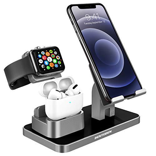 BENTOBEN Compatible With Airpods Pro 2/1 Apple Watch Series 5/4/3/2 iPhone 12 SE2 11 XS Max XR X 8 7 6S 6 Plus 5S 5 Android Smartphone iPad, 3-in-1 Charging Stand Universal Charging Dock Station, Gray