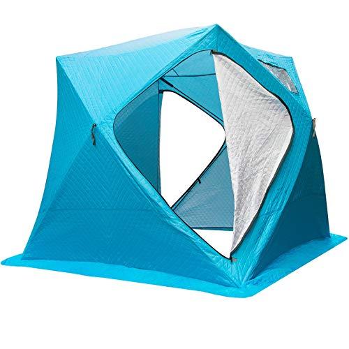 VEVOR Refugios de Pesca en Hielo Tienda de Pesca de Invierno Tienda de Refugio Portátil Impermeable Carpa Tienda de Pesca de Hielo para 3 Personas Color Azul