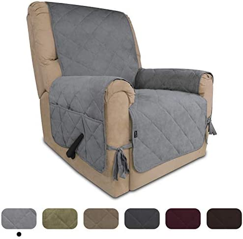 Best Easy-Going Micro Suede Sofa Slipcover Recliner Cover Couch Cover with Three Pockets Quilted Pets Cov
