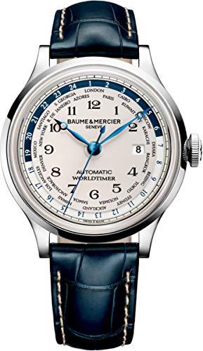 Baume & Mercier MOA10106 Capeland Herren-Armbanduhr, weißes Zifferblatt, Edelstahl-Gehäuse, Automatik-Uhrwerk