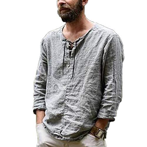 Camiseta de Manga Larga para Hombre Camiseta de Lino y algodón Camisas Hippies con Cuello en V