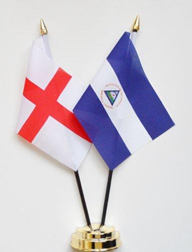 1000 Flags Angleterre et Nicaragua l'amitié Drapeau de table écran 25 cm (25,4 cm)