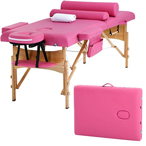 Massage Table Massage Bed Spa Bed Height Adjustable 2 Fold Portable 73 Inches Massage Table W/Sheet Cradle Cover 2 Bolster Hanger Facial Salon Tattoo Bed