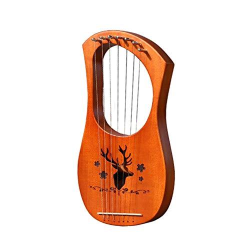 bozitian Lyra Harp Kleine Leierharfe Sieben Saiten Klavier Kleine Harfe Griechische Musikinstrumente Stimmbar, Hochwertige Qualität, Schöner Klang/Leier, Harfe