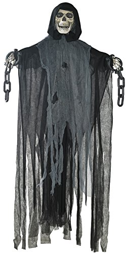 "Prextex 60"" Animated Hanging Grim Reaper Skull with Shackles Chains Best Halloween Decoration Prop"