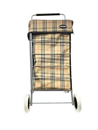 Carrito de compras resistente de 4/6 ruedas para viajes, mercadillo de viaje, hermoso bolso con ruedas con estampado de tartán en 2 tamaños (beige tartán, 60 L)