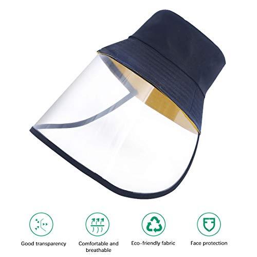 Fischerhut Outdoor UV Schutz Baseball Cap Travelling Sun Hat mit abnehmbarem Visier Gesichtsschutz,wasserdicht und staubdicht, Outdoor-Sonnenschutz,Spritzer,56-58cm-Schwarz
