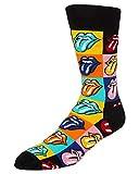Happy Socks Pietre Rotolamento Lingua Logo Griglia Calzini Da Uomo, Nero/Multi Medio/grande