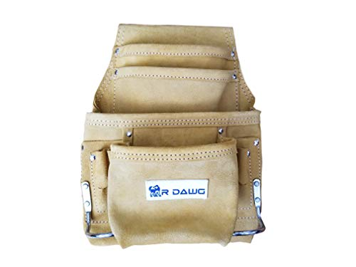 R Dawg 6-Pocket Suede Leather Tool Pouch - Heavy Duty Leather Tool Pouch- 2 Steel Hammer Loops, 4 Screwdriver Slots