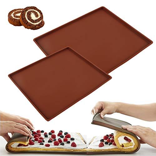 2 pezzi Tappetino da forno per Rotolo per torta Swiss Roll Tappetino da forno in silicone antiaderente Stampo per teglia da forno Tappetino da cucina resistente al calore per grigliare barbecue, torta