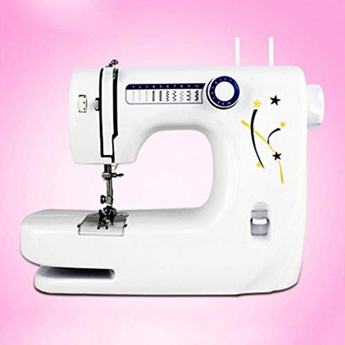 Mini machine a coudre Petit électromenager Bureau à coudre Machine à coudre d'outils avec rallonge de table, 10 Stitches LED nuit, pédale