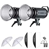 Neewer 600W Estudio Flash Estroboscpico Fotografa Iluminacin Kit:(2) 300W Monoluz,(2) Reflector,(2) Difusor,(2) Paraguas,(1) RT-16 Disparador Inalmbrico para Montura Bowens(S-300N)