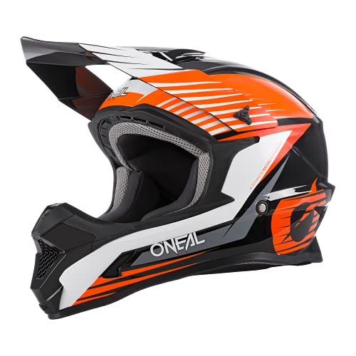 O\'NEAL | Motocross-Helm | MX Enduro Motorrad | ABS-Schale, Sicherheitsnorm ECE 22.05, Lüftungsöffnungen für optimale Belüftung & Kühlung | 1SRS Helmet Stream | Erwachsene | Schwarz Orange | Größe L