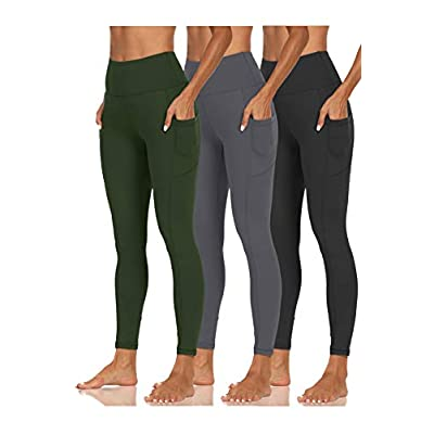 CAMPSNAIL 3 Pack Women's Yoga Pants Butt Lift with Pockets High Waisted Tummy Control Strectchy Soft Workout Running Leggings