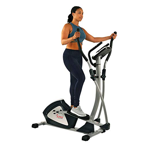 Sunny Health & Fitness Magnetic Elliptical Trainer Machine w/ Tablet Holder, LCD Monitor, 287 LB Max Weight and Pulse Monitoring - Endurance Zone - SF-E3804