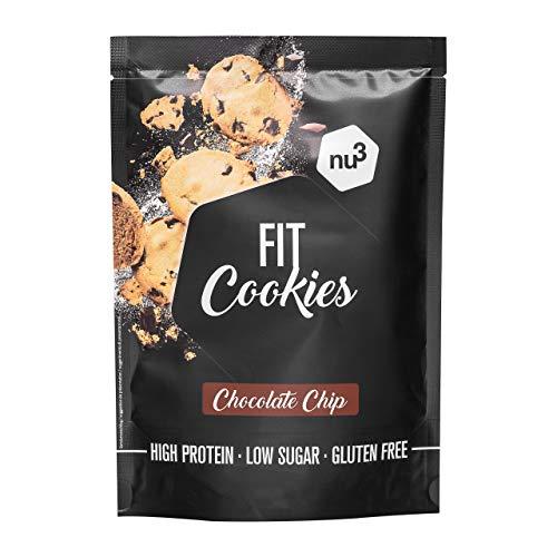 Fit cookies con gocce di cioccolato 250 g - Biscotti proteici vegani – Preparato di farina integrale - Spuntino proteico a basso contenuto di zucchero - Senza glutine e senza olio di palma - da nu3