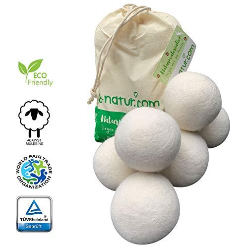 8-Natur, set di palline per asciugatrice XXL in confezione da6,alternativa naturale a sostanze chimiche in lana merino pura al 100%Gli asciugamani morbidi escono più velocemente dall'asciugatrice.