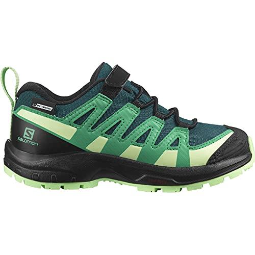 Salomon XA Pro V8 Climasalomon™ Waterproof (impermeable) niños Zapatos de trail running, Verde (Deep Teal/Black/Patina Green), 30 EU