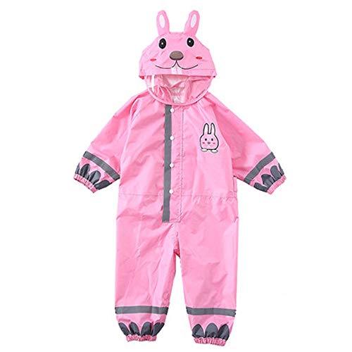 LINrxl Kindergarten Baby Regenmantel/Körper wasserdicht reflektierende Streifen Jungen und Mädchen einteiliger Regenmantel/dünn mit Kapuze Kind Anzug (Color : Pink, Size : L)