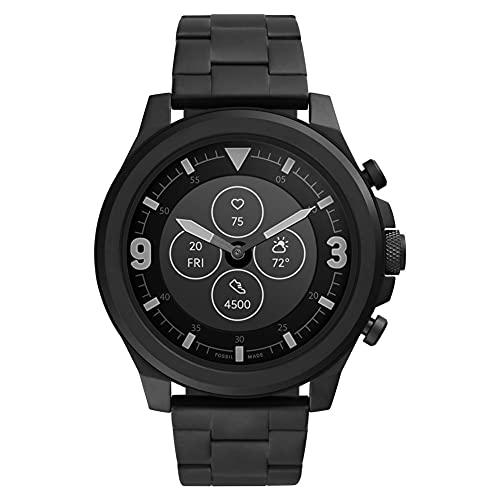Fossil HR Latitude FTW7021 - Reloj inteligente híbrido con correa de acero inoxidable negra para hombre