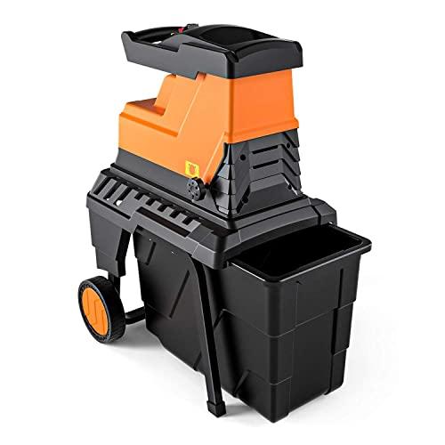 Biotrituratore de Jardín , Potencia de 2800 W, Capacidad de Corte Máxima de 45 mm, Caja de Recolección de 60 Litros, Motor Silencioso de Inducción